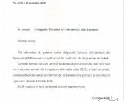 În atenţia Colegiului Editorial al Universităţii din Bucureşti